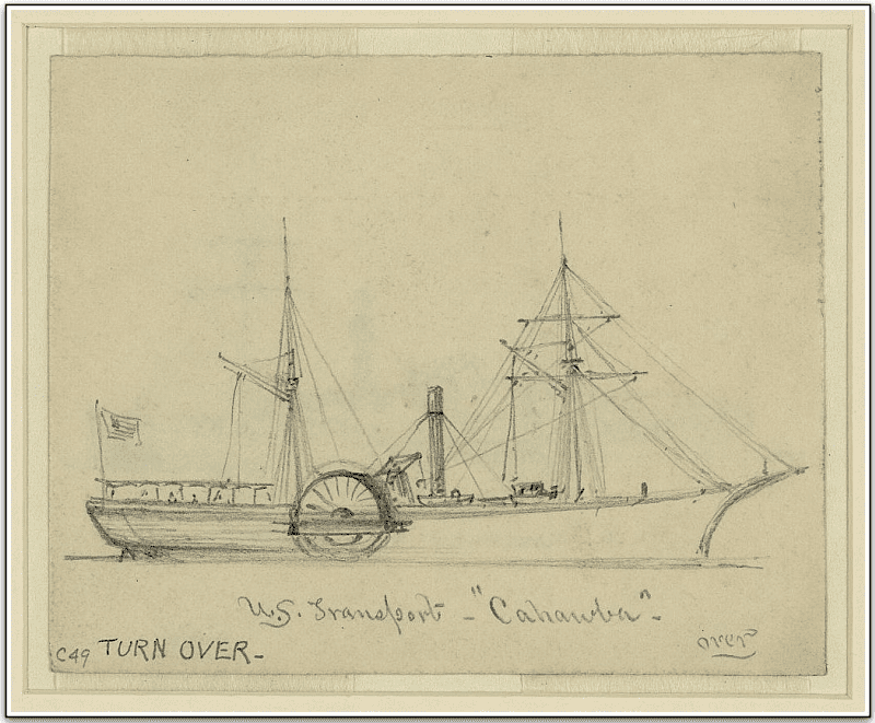 "drawing of the  U.S. steamship ""Cahawba"""