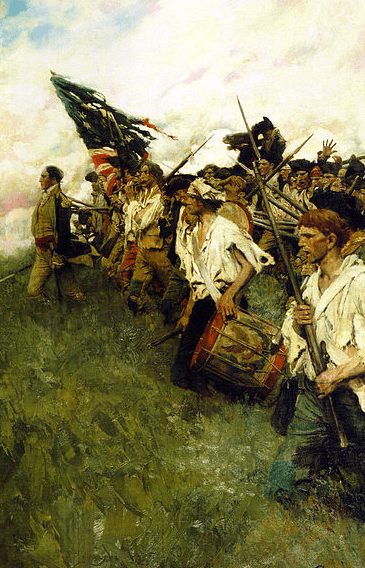 "Painting: ""Nation Makers"" by Howard Pyle, depicting a scene from the Battle of Brandywine"