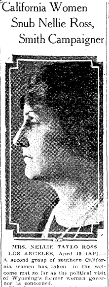 article about Nellie Ross and prohibition, Macon Telegraph newspaper article 20 April 1928