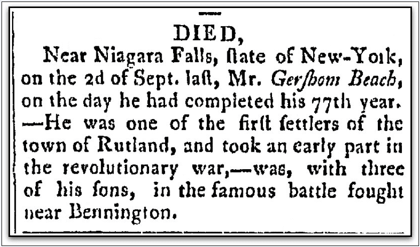 obituary for Gershom Beach, Middlebury Mercury newspaper article 5 February 1806