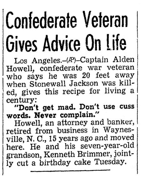 Confederate Veteran (Alden Howell) Gives Advice on Life, Morning Olympian newspaper article 19 February 1941
