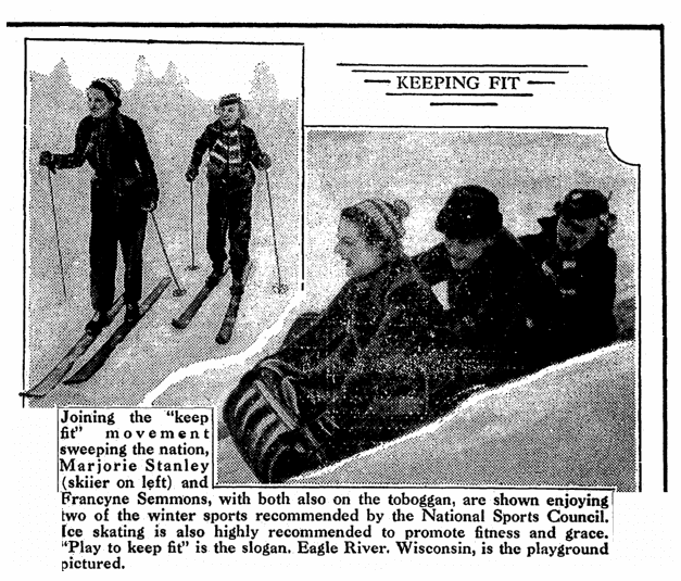 photos of people playing in the snow, National Labor Tribune newspaper article 14 January 1939