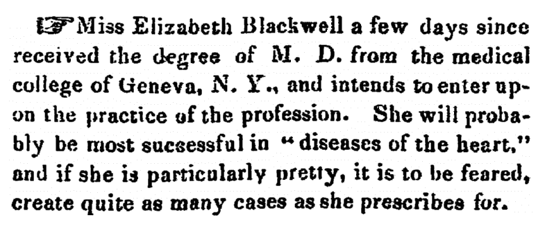 article about Elizabeth Blackwell, New London Daily Chronicle newspaper article 1 February 1849