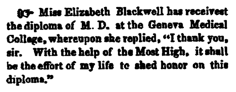 article about Elizabeth Blackwell, New London Democrat newspaper article 3 February 1849