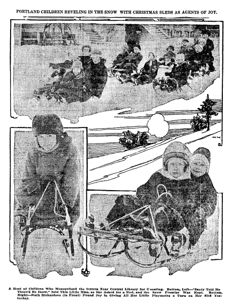 photos of children sledding on the snow, Oregonian newspaper article 28 December 1916