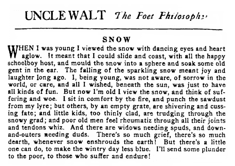 "the poem ""Snow,"" Patriot newspaper article 8 January 1917"