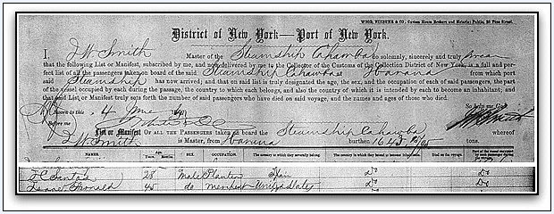 New York Passenger Lists 1820-1891, showing entry for Isaac Fernald