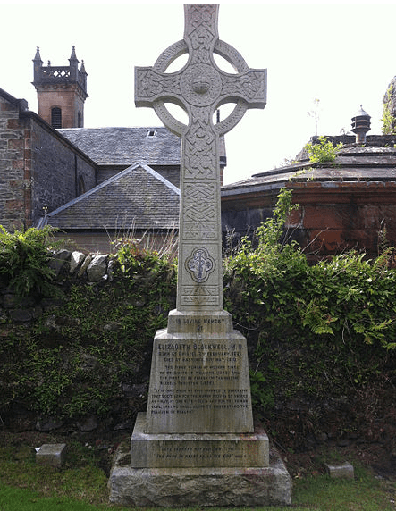 photo of Elizabeth Blackwell's headstone, St. Munn's Parish Church, Kilmun, Scotland