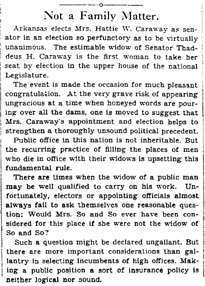 editorial about Hattie Caraway being elected the nation's first female U.S. senator, Plain Dealer newspaper article 14 January 1932