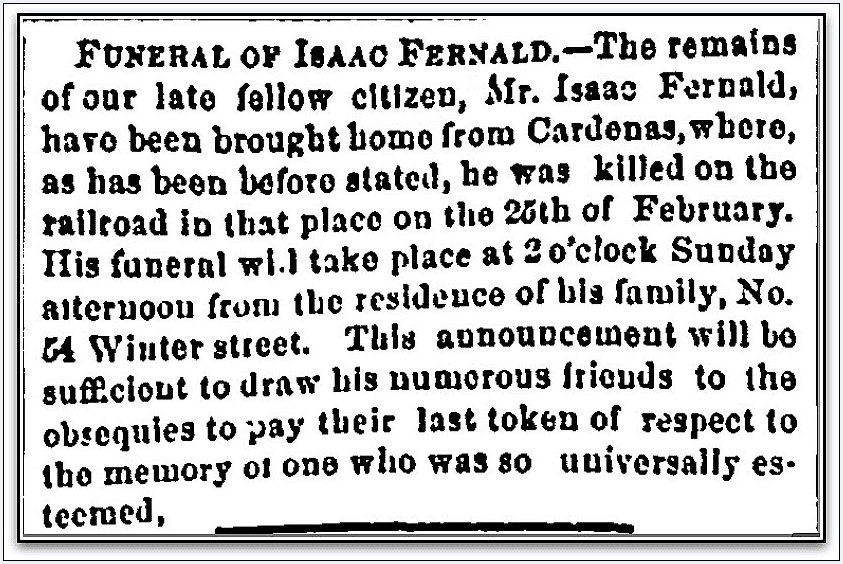 obituary for Isaac Fernald, Portland Daily Press newspaper article 1 April 1871