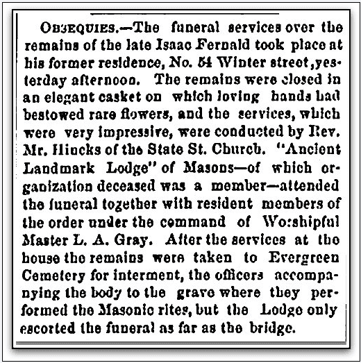 article about the funeral services for Isaac Fernald, Portland Daily Press newspaper article 3 April 1871