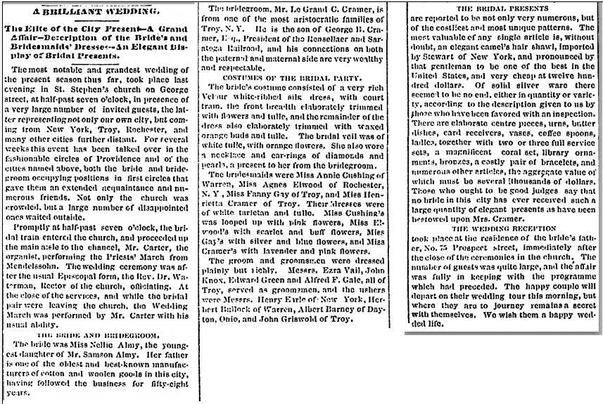 wedding  notice for Le Grand C. Cramer and Nellie Almy, Providence Evening Press newspaper article 17 November 1871