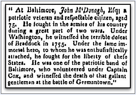 obituary for John McDonogh, Providence Gazette newspaper article 8 April 1809