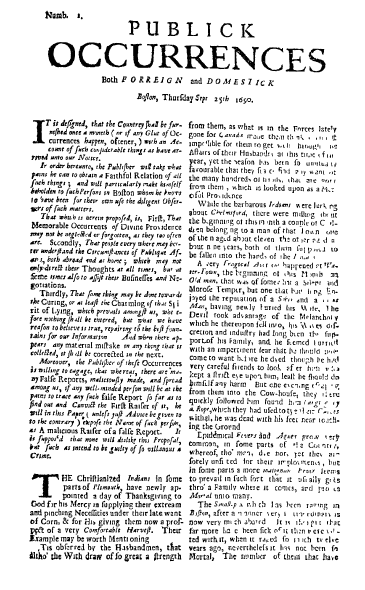 front page for the newspaper Publick Occurrences Both Forreign and Domestick (Boston, Massachusetts), 25 September 1690