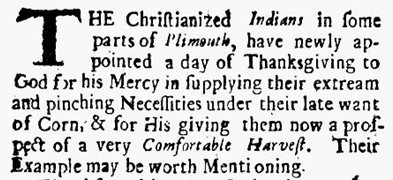 article about Indians celebrating Thanksgiving, Publick Occurrences Both Forreign and Domestick newspaper article 25 September 1690