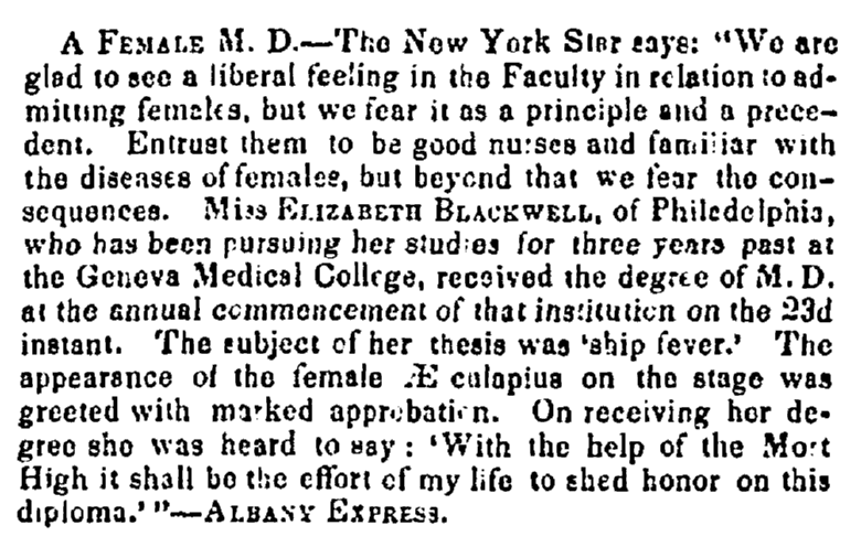 article about Elizabeth Blackwell, Richmond Whig newspaper article 9 February 1849