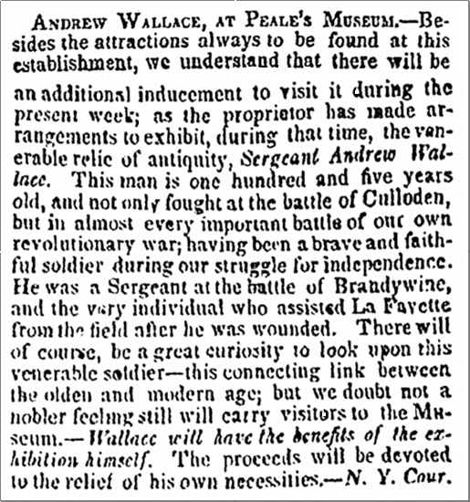 Andrew Wallace, at Peale's Museum, Richmond Whig newspaper article 2 December 1834