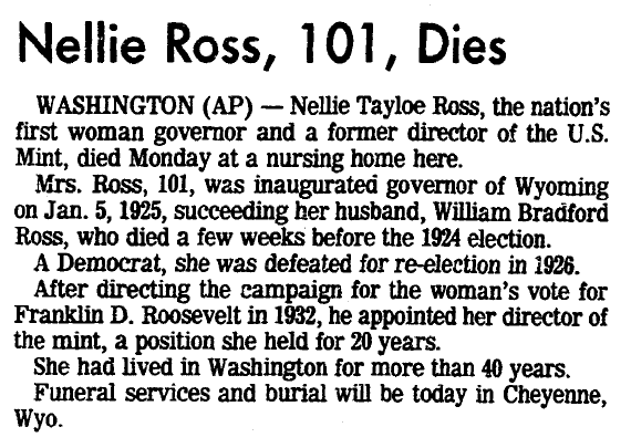 obituary for Nellie Ross, San Diego Union newspaper article 21 December 1977