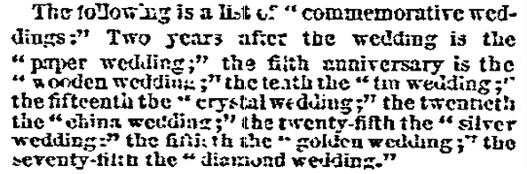 article about wedding anniversaries, San Francisco Bulletin newspaper article 26 September 1866