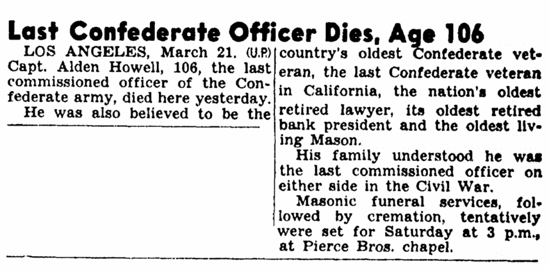 obituaryr for Alden Howell, San Luis Obispo Daily Telegram newspaper article 21 March 1947