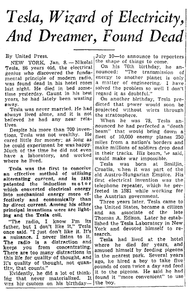 obituary for Nikola Tesla, Seattle Times newspaper article 8 January 1943