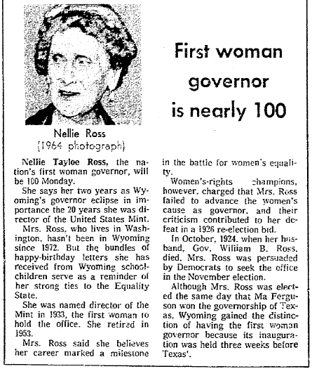 article about Nellie Ross turning 100, Seattle Daily Times newspaper article 26 November 1976