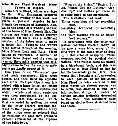 article about Grace Floyd's bridal shower, Sedan Times-Star newspaper article 1 September 1910
