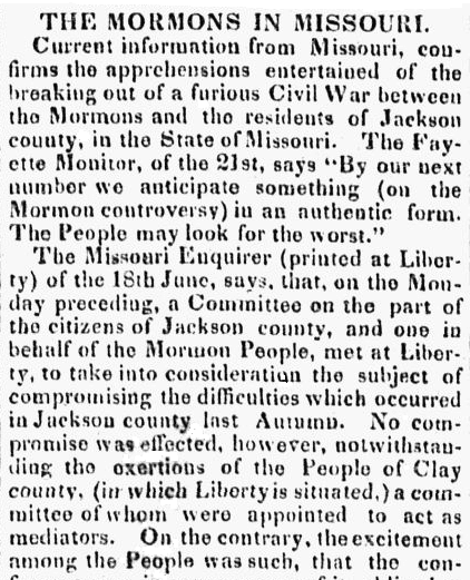 article about the conflict with the Mormons in Missouri, Southern Patriot newspaper article 14 July 1834