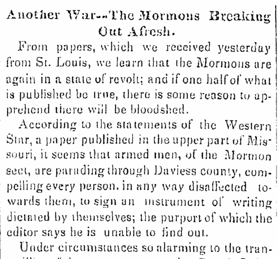 article about the Mormon War in Missouri, Times-Picayune newspaper article 14 September 1838