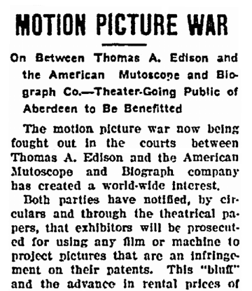 article about Thomas Edison and legal controversies regarding motion picture inventions, Aberdeen Daily News newspaper article 25 March 1908