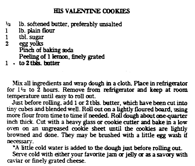 recipe for Valentine's Day cookies, Advocate newspaper article 10 February 1977