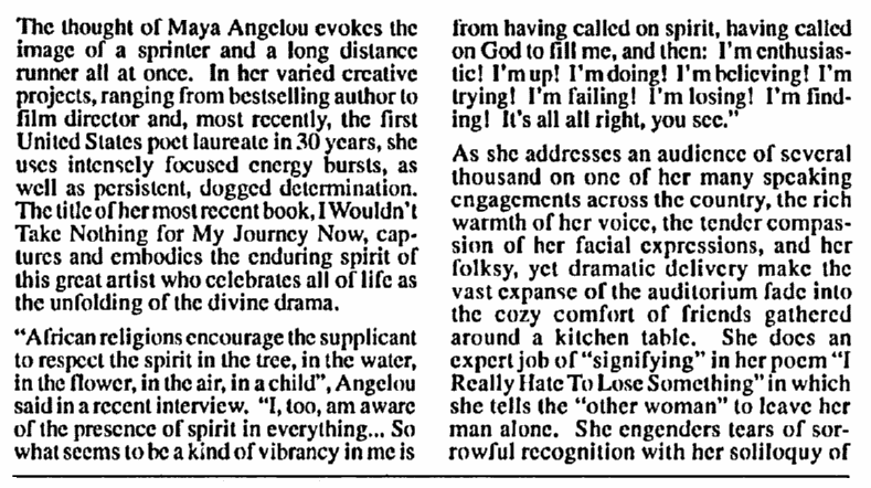 article about Maya Angelou, Afro-American Gazette newspaper article 20 December 1993