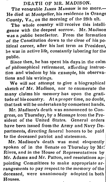 obituary for James Madison, Alexandria Gazette newspaper article 2 July 1836