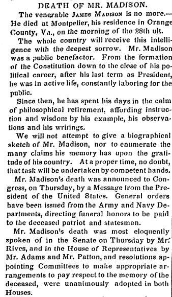 obituary for James Madison, Alexandria Gazette newspaper article 2 July 1836