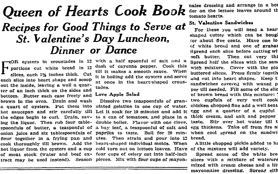 recipe for Valentine's Day, Boston Herald newspaper article 14 February 1915