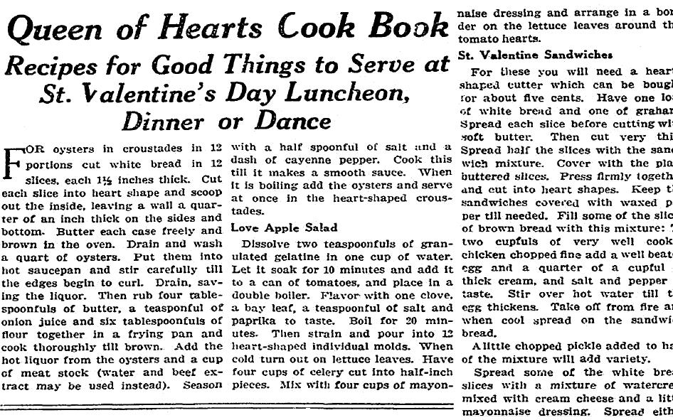 recipe for Valentine's Day, Boston Herald newspaper article 14 February 1915