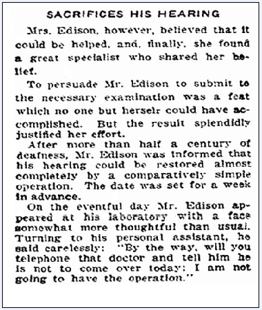 article about Thomas Edison refusing an operation to restore his hearing, Boston Herald newspaper article 19 July 1914