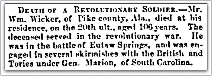 obituary for William Wicker, Daily Alabama Journal newspaper article 28 January 1853