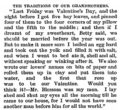 article about Valentine's Day traditions, Daily Graphic newspaper article 14 February 1874