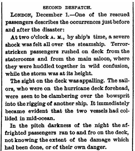 eyewitness account of the shipwreck of the Ville du Havre, Daily Graphic newspaper article 1 December 1873