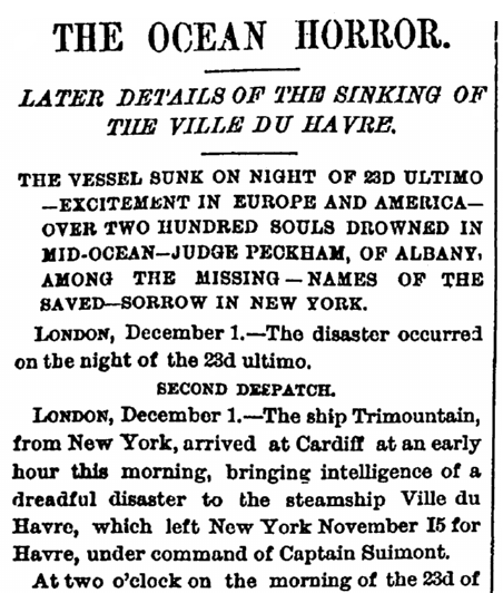 article about the shipwreck of the Ville du Havre, Daily Graphic newspaper article 1 December 1873