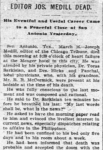 obituary for Joseph Medill, Dallas Morning News newspaper article 17 March 1899