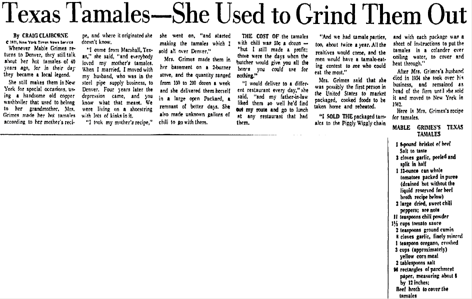 article about Mable Grimes and her Texas tamales, Dallas Morning News newspaper article 27 May 1971
