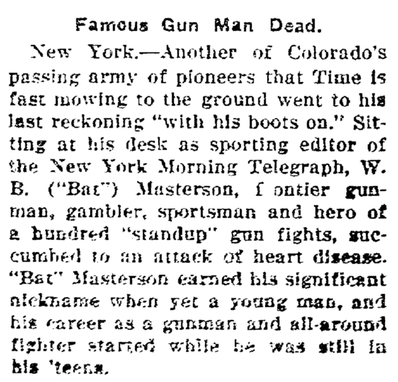 obituary for Bat Masterson, Estrella newspaper article 5 November 1921