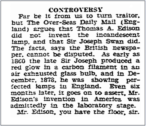 article about who really invented the electric light bulb, Evansville Courier and Press newspaper article 29 November 1929