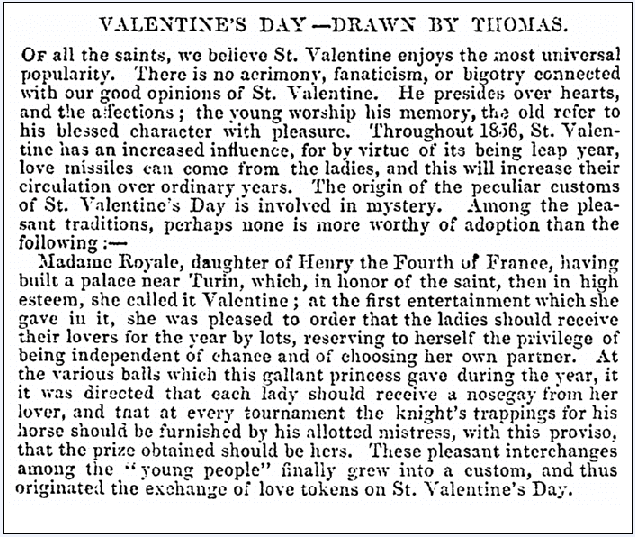 article about Valentine's Day, Frank Leslie's Illustrated Newspaper article 16 February 1856