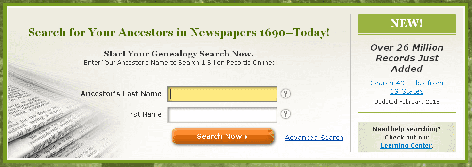 screenshot of GenealogyBank's homepage announcing the addition of 26 million more records in February 2015