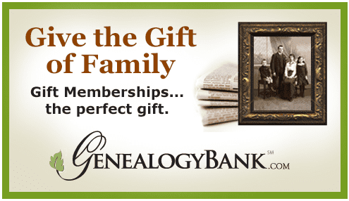 ad for gift subscriptions to GenealogyBank