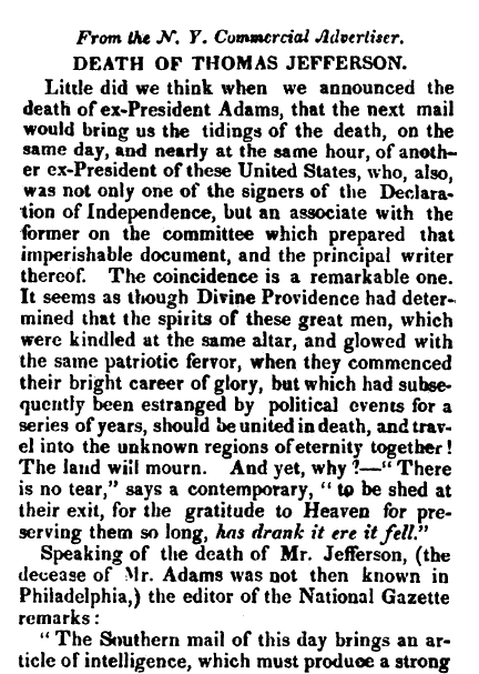 Death of Thomas Jefferson, Hampshire Gazette newspaper article 12 July 1826
