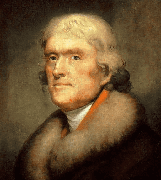 portrait of Thomas Jefferson, 3rd president of the United States, by Rembrandt Peale